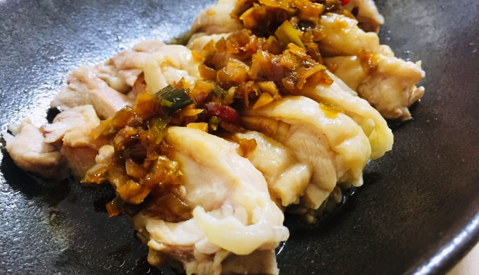 電鍋レシピ蒸し鶏のネギソース