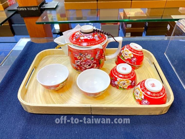 客家花布柄の茶器